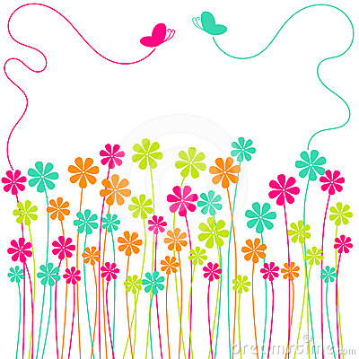 Free Spring Flowers Field Butterflies Greeting Card Stock Image - 24380391
