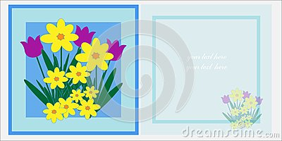 Spring Flowers Greetings Card Template