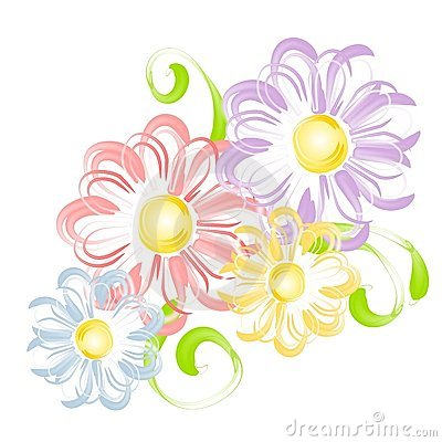 Spring Flowers In Pen Brush Clip Art