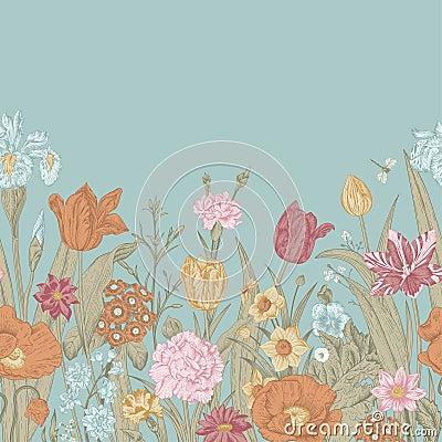 Free Spring Flowers. Seamless Floral Border. Stock Photos - 49994373