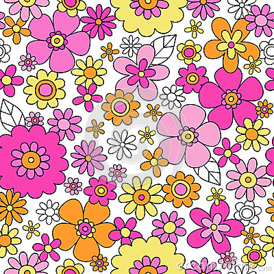 Spring Flowers Seamless Repeat Pattern Vector Illu