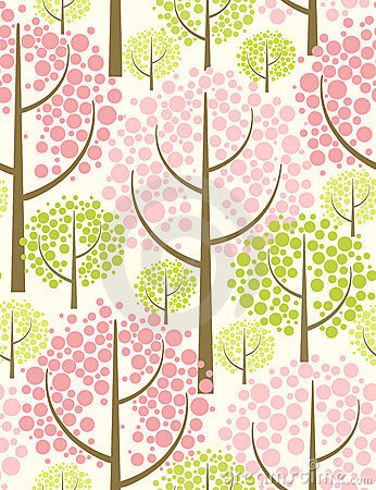 Spring forest. Vector seamless pattern.