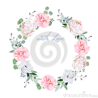 Spring fresh peony, anemone, camellia, brunia flowers and eucaliptis leaves round vector frame Vector Illustration