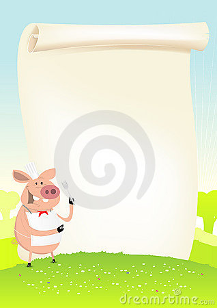 Spring Funny Pig Cook In A Field