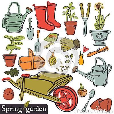 Free Spring Garden Set Royalty Free Stock Image - 36714776