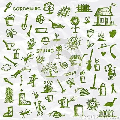 Spring. Garden tools sketch