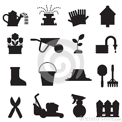 Spring Gardening Icons Set Vector Illustration
