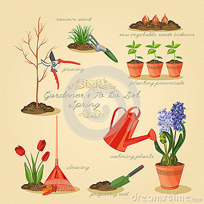 Garden tools  Spring in the garden. Spring Gardening To Do List  Card Gardener Set  Stock Vector