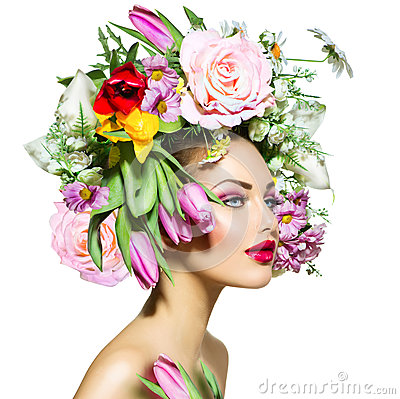 Free Spring Girl With Flowers Royalty Free Stock Photo - 38188855