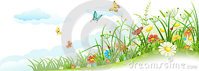 Spring grass and flowers Vector Illustration