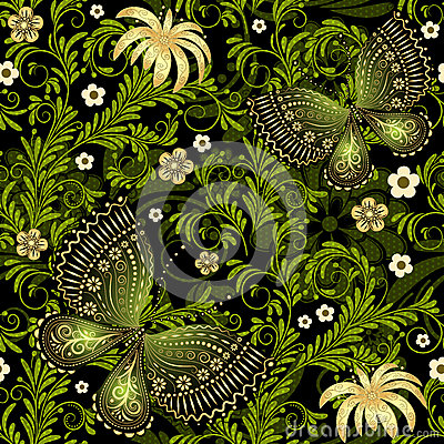 Free Spring Green-gold Seamless Pattern Stock Image - 30595671