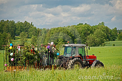 Spring hayride on farm