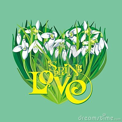 Spring Heart of Snowdrops with Text