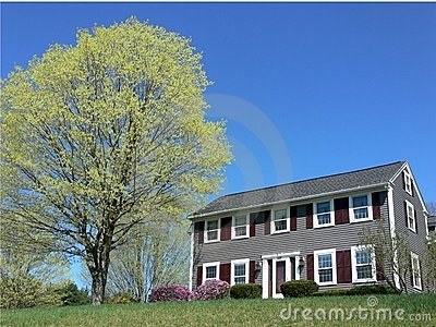 Spring: house with budding maple tree