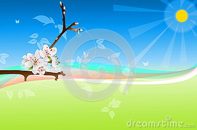 Spring illustration with flowers and sunlight