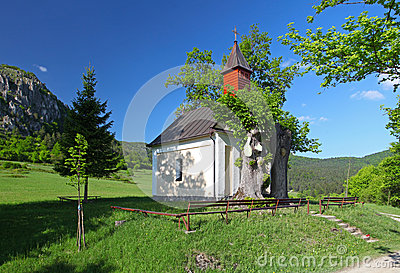 Spring landcape with chapel in eastern europe