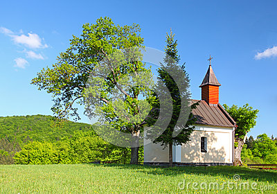 Spring landcape with chapel in eastern europe - Sl