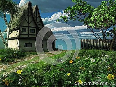 Spring landscape with  old cottage