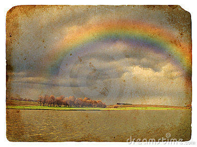 Spring Landscape with Rainbow. Old postcard.