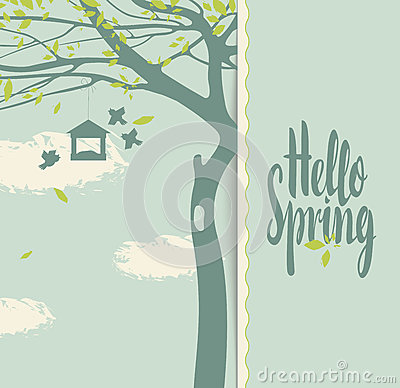 Free Spring Landscape With Flowering Tree Stock Photos - 86054703