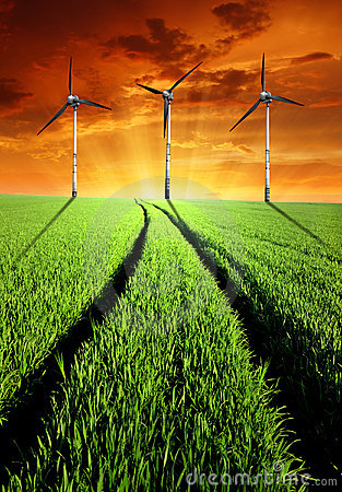 Free Spring Landscape With Wind Turbines Royalty Free Stock Image - 23073206