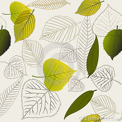 Spring leafs abstract seamless pattern