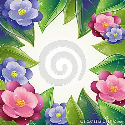 Spring leaves and violet frame
