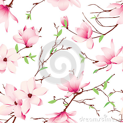 Free Spring Magnolia Flowers Seamless Vector Pattern Royalty Free Stock Photo - 49650695