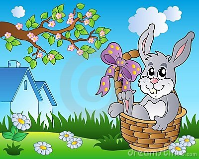 Spring meadow with bunny in basket