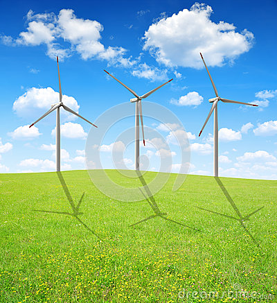 Free Spring Meadow With Wind Turbines Stock Images - 33876254