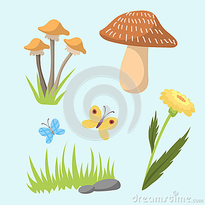 Spring natural floral symbols with blossom gardening tools beauty design and nature grass season branch springtime hand Vector Illustration
