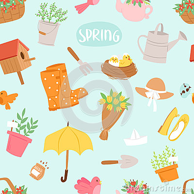 Spring natural floral symbols with blossom gardening tools seamless pattern background Vector Illustration