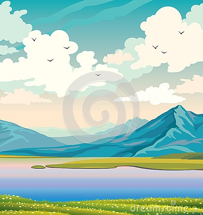 Free Spring Nature - Mountains, Lake, Grass, Flowers, Cloudy Sky. Royalty Free Stock Photo - 127824545