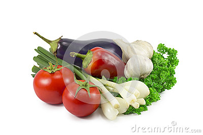Spring onion, tomato, garlic