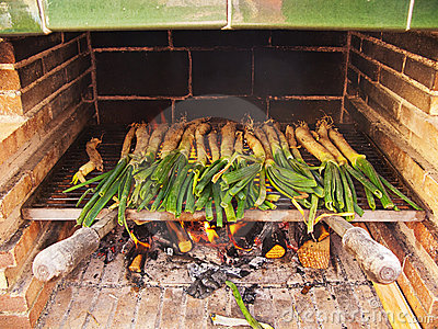 Spring onions on the barbecue