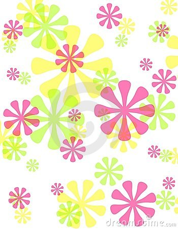 Spring Opaque Retro Flowers Background