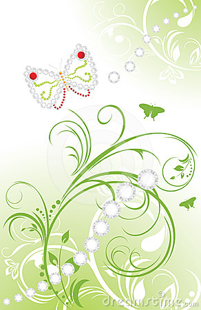 Spring ornamental background with shining strasses