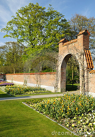 Spring park with ancient architecture