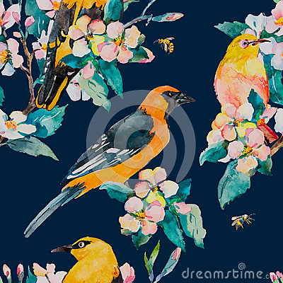 Free Spring Pattern. Flowering Branch. Oriole And White-eye Bird Watercolor Pattern. Bees,wasp. Watercolor. Vector. Royalty Free Stock Images - 66417979