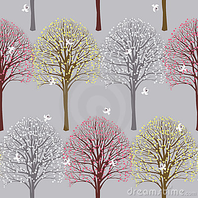Spring pattern with flowering trees