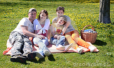 Spring picnic for whole family