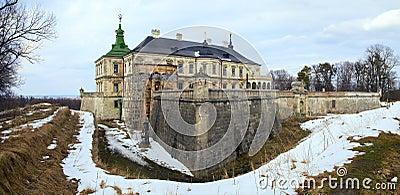 Spring Pidhirtsi Castle panorama view (Ukraine)