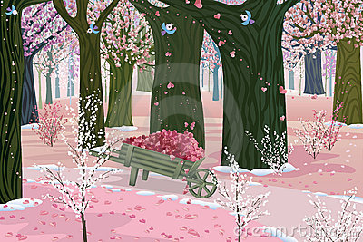 Spring pink forest