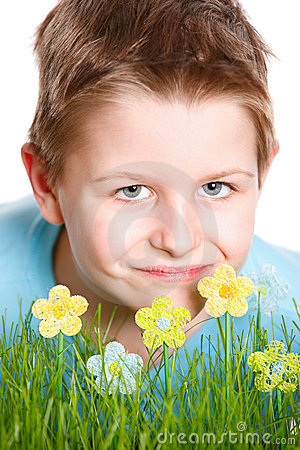 Spring portrait of cute little boy