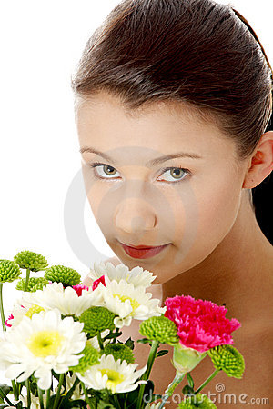 Spring portrait with flowers