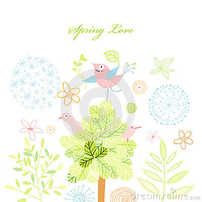 Spring postcard with a tree and birds
