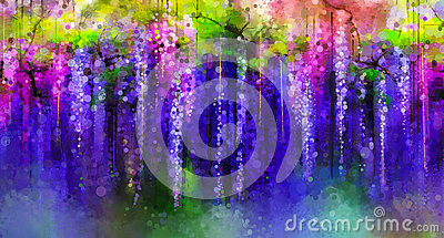 Spring purple flowers Wisteria.Watercolor painting Stock Photo