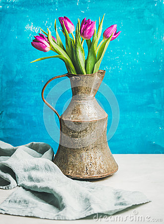 Free Spring Purple Tulips In Vintage Rustic Copper Jug, Blue Wall Royalty Free Stock Images - 87577669