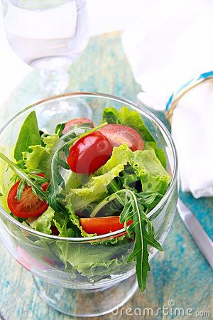 Spring salad with mixed salad