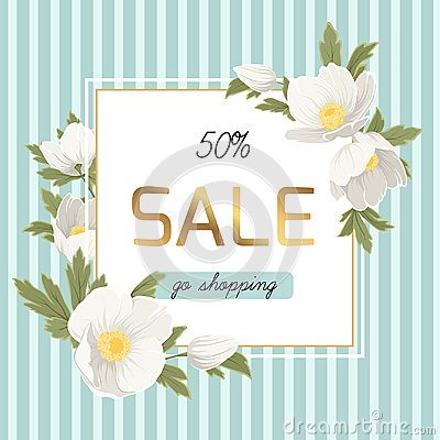Free Spring Sale Discount Anemone Hellebore Flowers Royalty Free Stock Image - 109972266